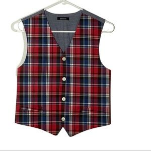 Boys Red and Blue Plaid Vest